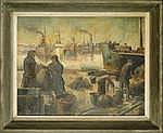 STAQUET L. - Tableau HST -Vue du port- signé et de