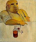 CABODI R. - Tableau HST -Homme attablé- daté 68