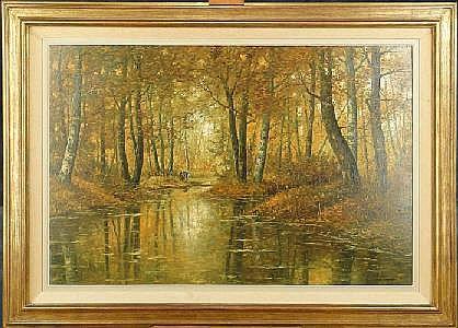 DELBOVE R. - Tableau HST -Etang dans les bois-