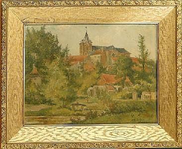 DILLENS A. - Tableau HSB -Vue de Linkebeek- signé