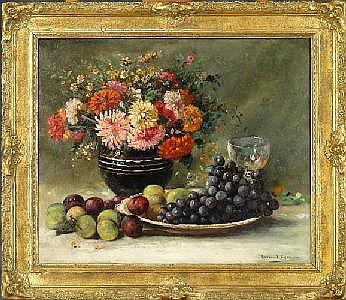CHARLOT R. - Tableau HST -Nature morte de fleurs