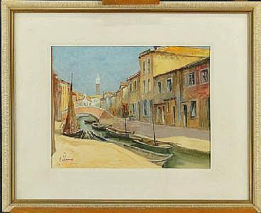 LIENAUX F. - Tableau aquarelle -Vue de Burino-