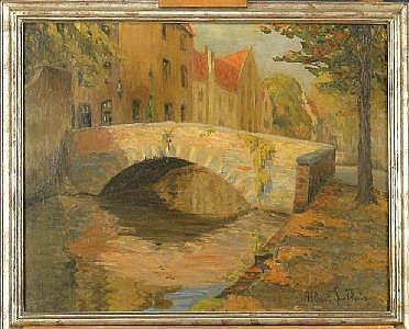 GOETHALS A. - Tableau HST -Pont de Bruges- signé