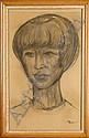PERETTI C. - Tableau/fusain -Portrait de Jeune