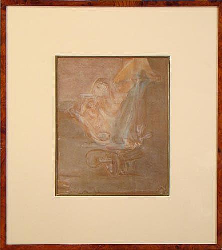 ROLET C. - Pastel -Couple d'amoureux- signé et de