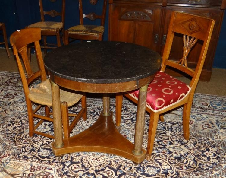 Meuble table ronde de style empire en acajou fin 19 d but 2 for Style chaises anciennes