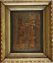 Tableau Collage métallique - Guerrero Rojo-Azul - daté 1962 attribué au dos à ARBOLEDA Alberto