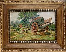 Tableau HST - La charrette de la ferme et ses poules - signé et de FERMEUSE Victor