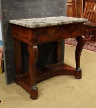 Furniture: CHARLES X Console in Mahogany Braid 1st half 19Century