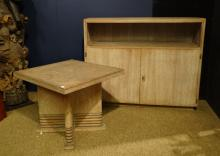 Furniture: Living room table and furniture Art-Deco style in Oak in De Coene style