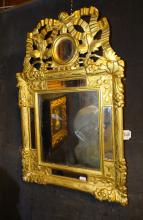 Furniture: Mirror with enclosure in gilded wood (lack and crack) 18C