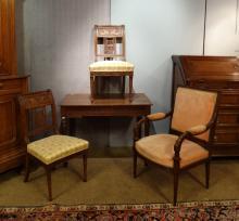 Furniture: Table Louis XVI in oak late 18th early 19th