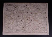 Engraving: Etching - The county of Haynaut divided into chatellenies. balliages. prevostés - 1720 by JAILLOT Hubert