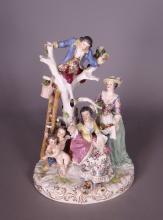 Ceramics: group in German porcelain of Passau or Hoche 20C (crack)