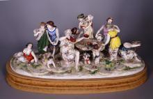 Ceramic: Important group in porcelain - Allegory in wine - mark Capodimonte / Doccia 19C