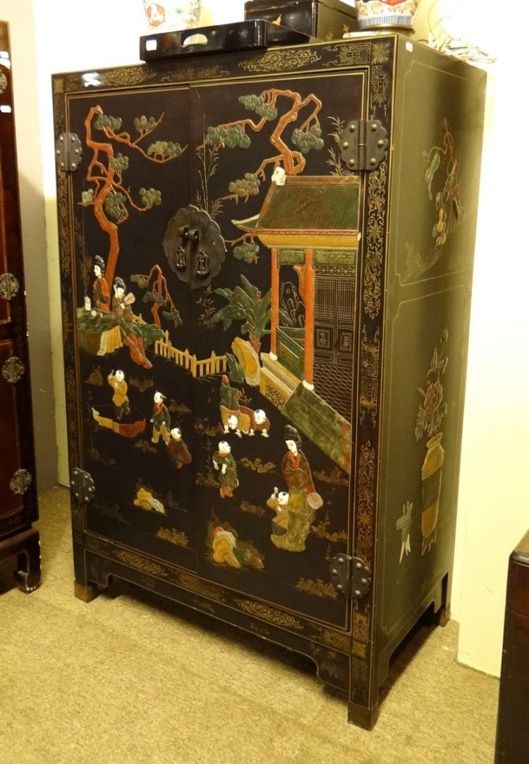 Asian black lacquered chinese furniture inlaid with soft st for Asian furniture uk