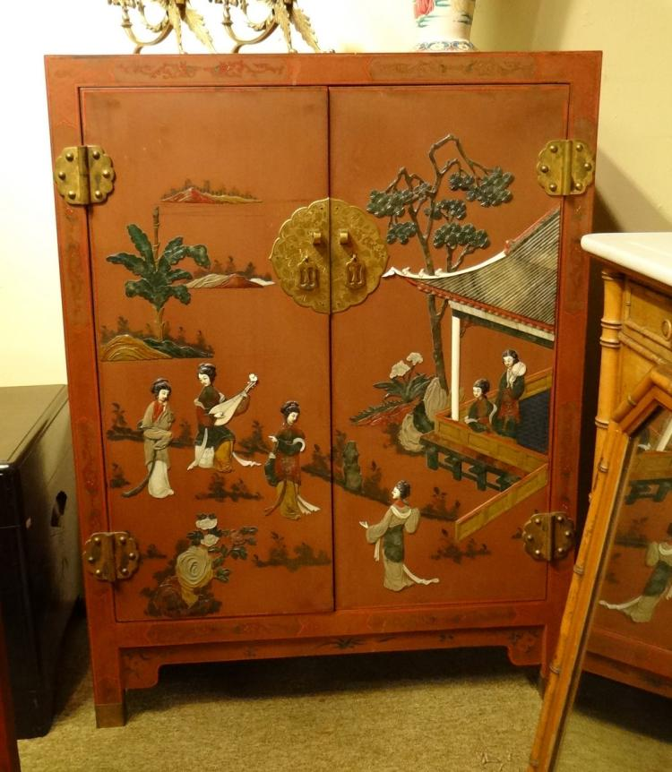 Asian red lacquered chinese furniture inlaid with soft ston for Red chinese furniture