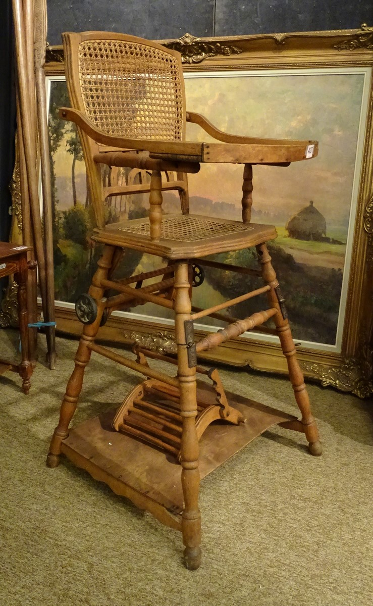 Furniture wooden highchair for children crack about 1900 for Furniture 4 a lot less