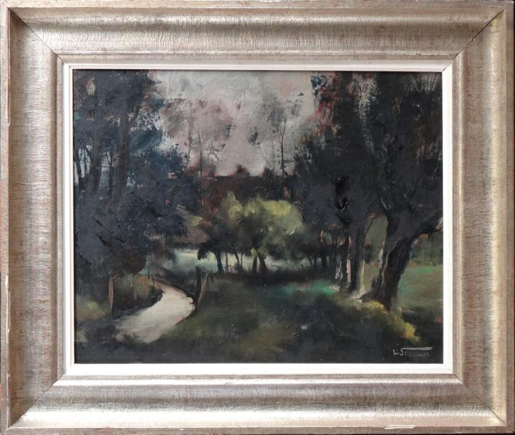 painting oil on canvas - landscape - signed STAQUET Lucien