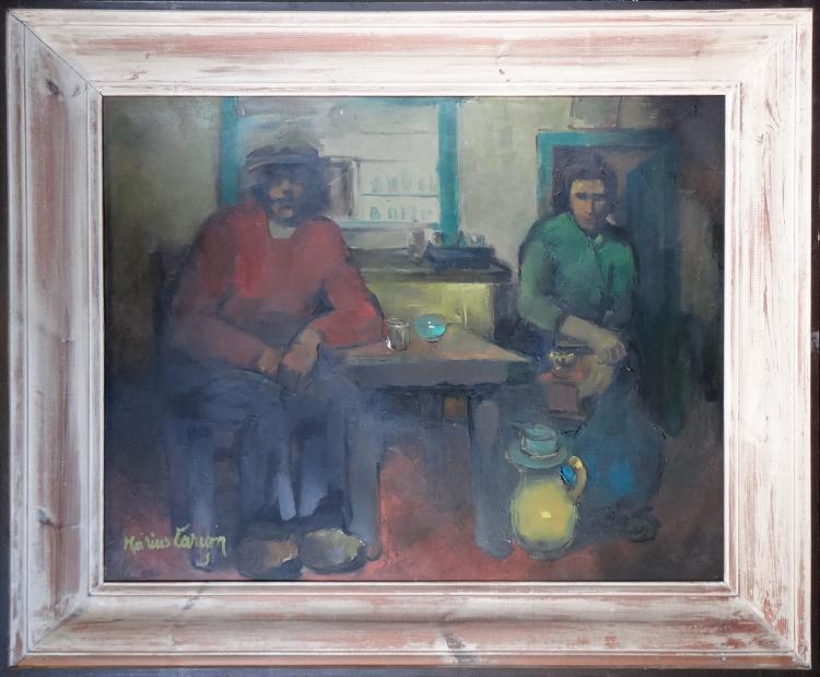 Painting Oil on canvas - Interior of a Borain coffee animated - signed CARION Marius