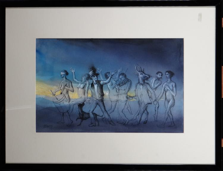 painting : mixed technical on paper - dancers et musicians - signed DEVOLDER Roland
