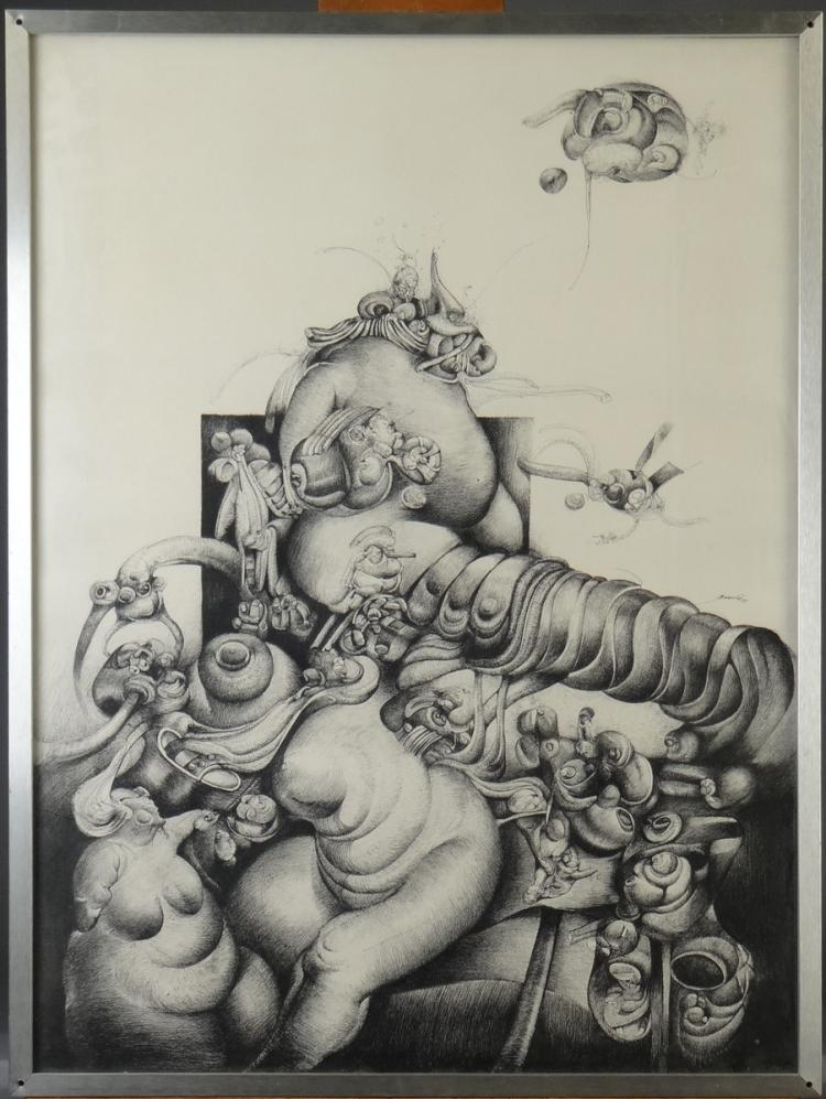 painting : drawing - composition - dated 77 signed BRACHE Carlos