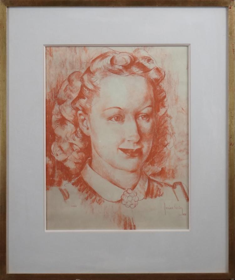 painting : Red chalk on paper - Portrait of a woman - signed CARION Marius