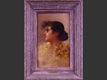 painting oil on canvas - portrait of a woman - signed GIUSTO Fausto