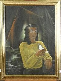 MARTINET M. - Tableau Pastel -Jeune-femme à