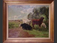 painting oil on canvas - Cows in the meadow - signed FERMEUSE Victor