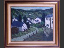 painting oil on canvas - Ardenne landscape - signed Percenel pour DUMONT Louis