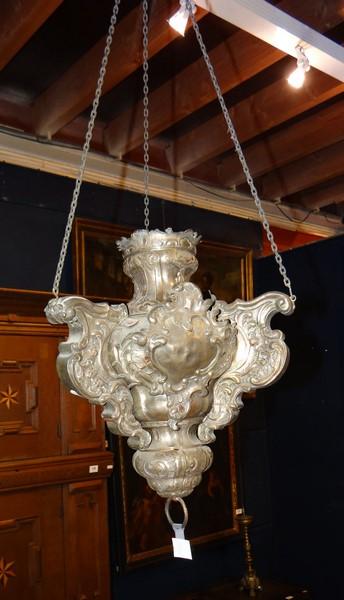 lustre d 39 glise en cuivre argent dat 1780 sign prosper. Black Bedroom Furniture Sets. Home Design Ideas