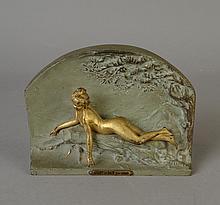 Sculpture : Métal patine verte et or - Avant le bain - par ALLIOT Lucien Charles Edouard