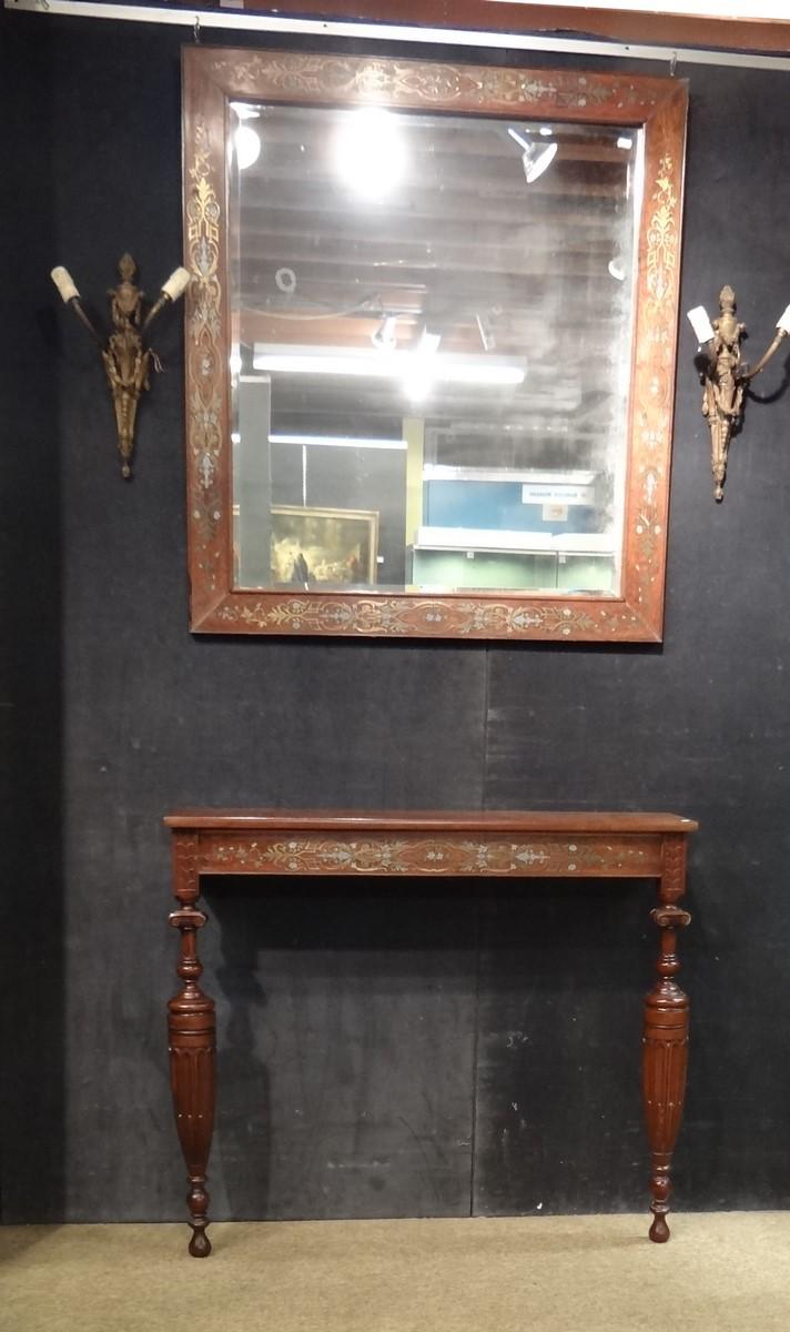 Meuble miroir rect napol on iii en marqueterie de cuivre e for Miroir napoleon