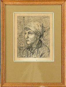 CARION M. - Eau-forte -Hiercheuse- 1920 a/