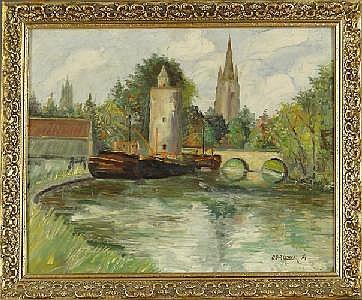 OORLYNCK G. - Tableau HST -Vue d'église- signé et