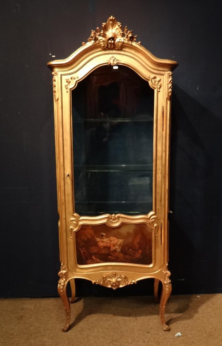 Furniture Show Case In Gilded Wood Louis Xv Napiii Style