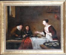 painting oil on canvas laid down on cardboard - Interior scener - title back on period gerard ten borde 1650 - Attributed to ter borch gerard