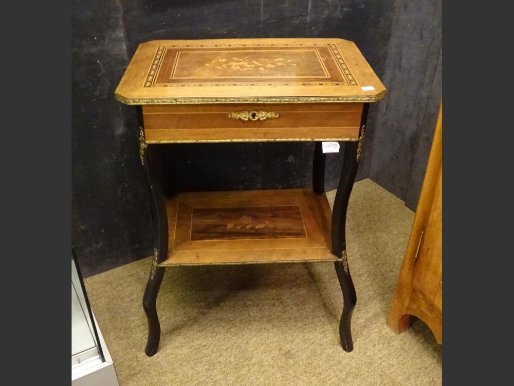 Furniture: sewing cabinet Napoleon III in rosewood marquetry with flowers