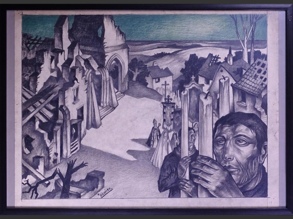 painting : drawing charcoal on paper - Procession - signed DIERICKX Raymond