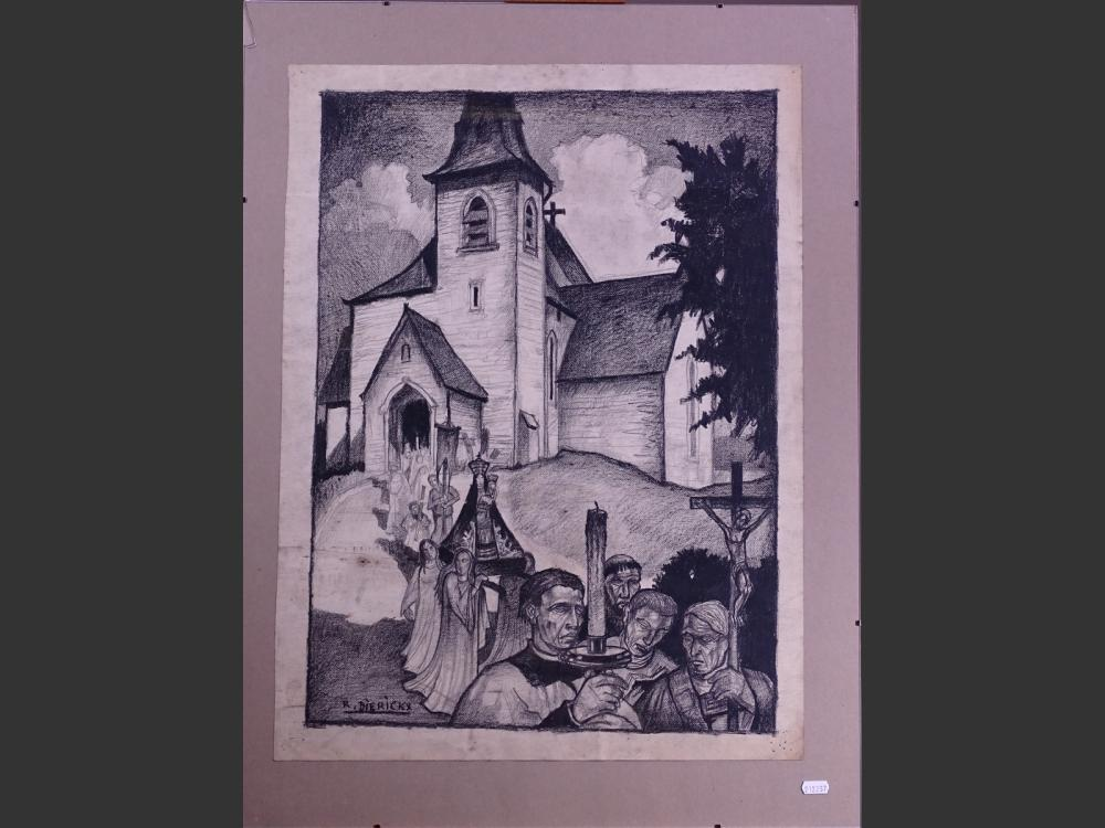 painting charcoal - Procession in front of a church - signed DIERICKX Raymond