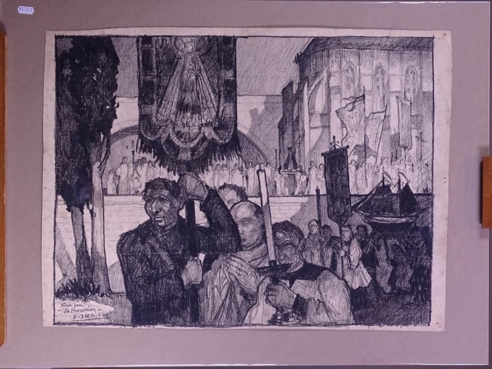 painting charcoal - Study for the procession - signed DIERICKX Raymond