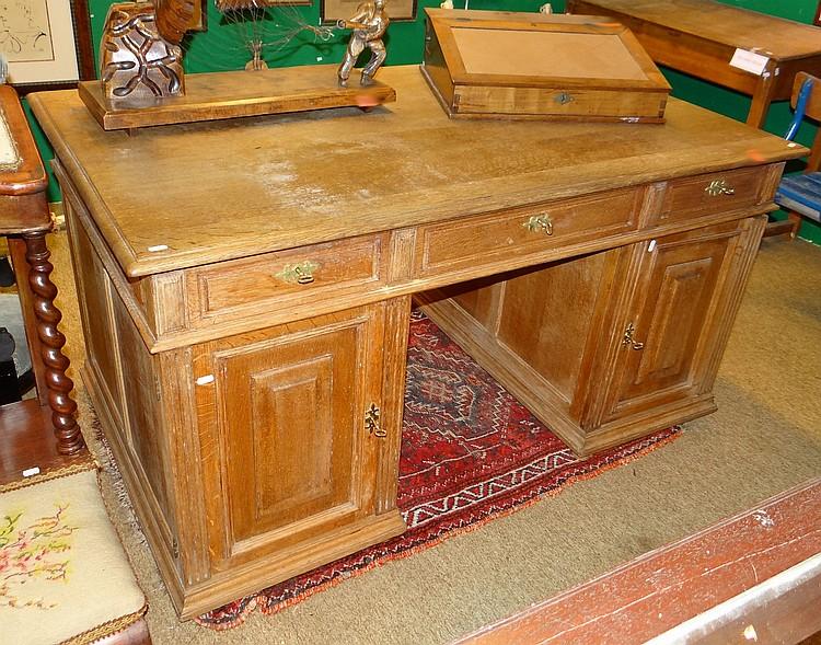Meuble bureau en chene circa 1900 bloc porte et tiroirs h 7 for Meubles 1900