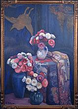 Painting Oil on canvas - Still life with flowers - signed ADAM Wilbur G.