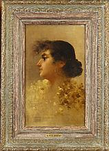 Painting Oil on canvas - Portrait of a woman in profile - signed GIUSTO Fausto