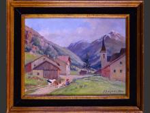 painting oil on canvas - landscape de montagne animated - 1894 signed G.GUIGNARD GUIGNARD Alexandre Gaston