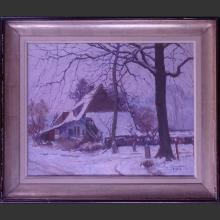 painting oil on canvas - fermette in winter - signed FERMEUSE Victor