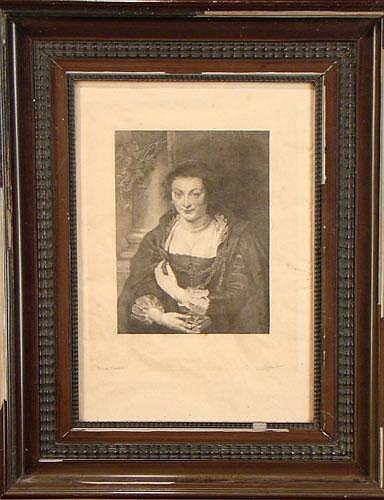 DIEU V. - Gravure -Portrait de l'épouse de Rubens-