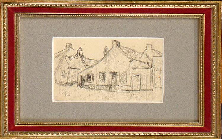 REGNART V. - Crayon s/papier -Vieilles maisons à