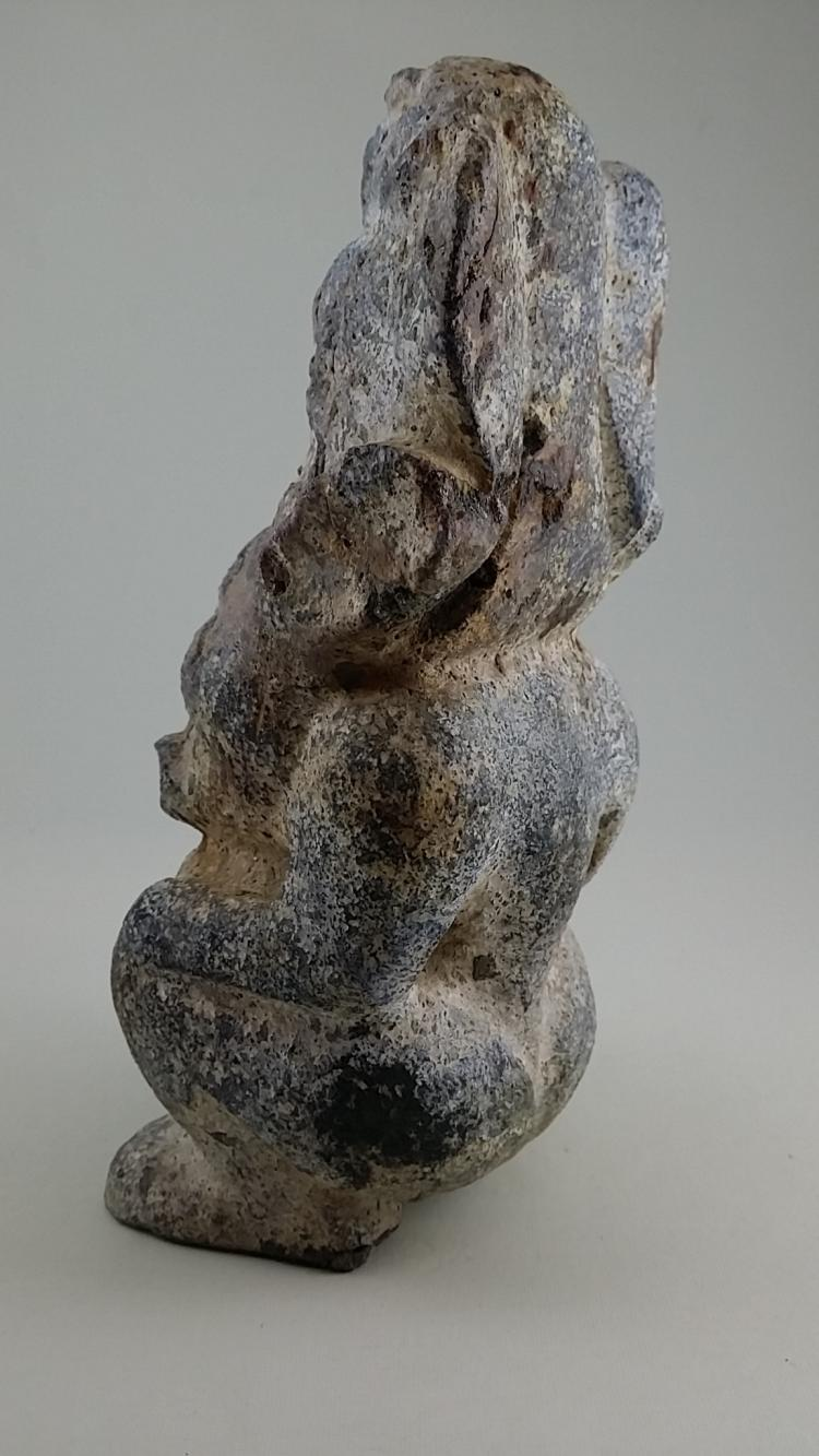 An old calcified jade stone carving of sun god neolithic per